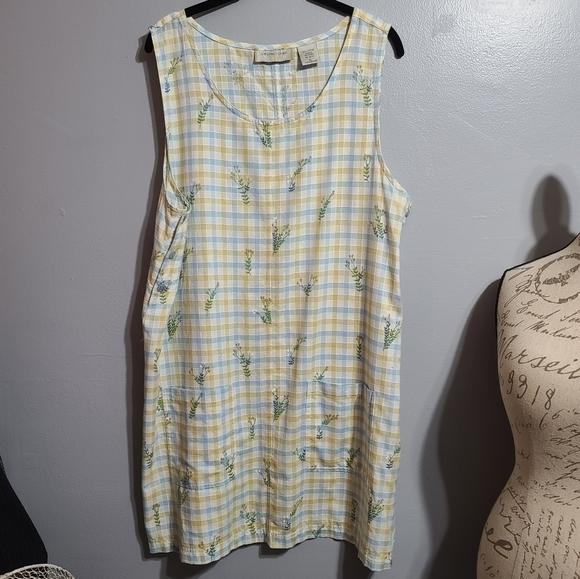 NWOT Lemon Grass Yellow, Blue, White Dress SZ L